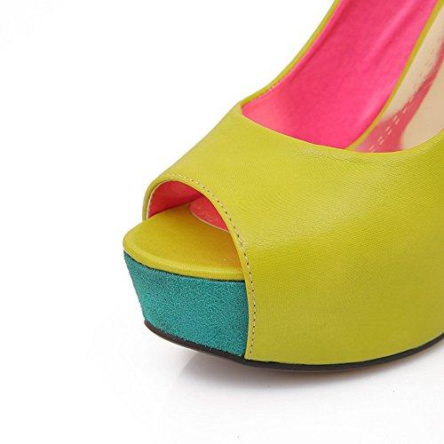 Agoolar Peep Stiletti Assortiti Colori Pull Verdi Sandali Pu Toe Donna Punte 1RF1wrxqU