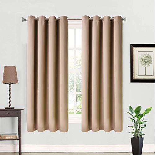 Balichun 2 Panels Blackout Curtains Thermal Insulated Solid Grommets Curtains for Bedroom/Living Room (Cappuccino, W52 x L95)