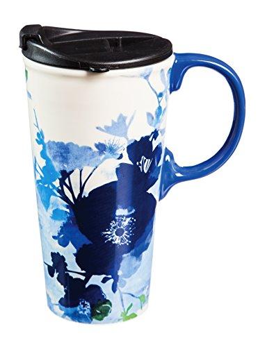 Cypress Home Ceramic Bella Blue Travel Coffee Mug, 17 ounces