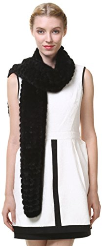 Vogueearth Women'Real Knitted Mink Fur Autumn Winter Long Scarf Black by vogueearth