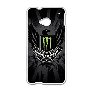 Special Design Cases HTC One M7 Cell Phone Case White Monster Energy Greba Durable Rubber Cover