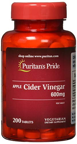 Puritans Pride Apple Cider Vinegar 600 mg Tablets, 200 Count Apple Cider Vinegar 200 Tablets