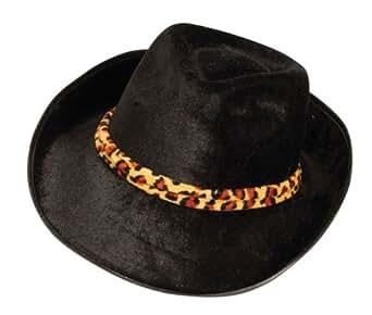 Forum Novelties Men's Novelty Velvet Fedora Hat with Band, Black/Leopard, One Size