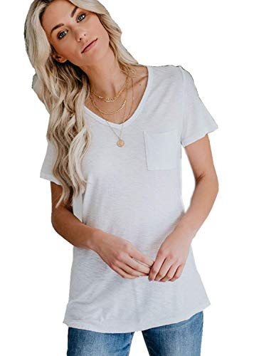 - LaSen Women's Summer Casual Tops V Neck Basic Casual Long Sleeve & Short Sleeve T Shirts,Supersoft Terry V-Neck Tunic (White, Medium)