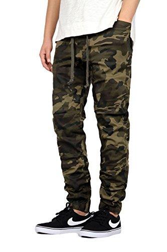 Camo Pants Mens Medium - Mersenne Mens Twill Drop Crotch Jogger Pants (L, Camo)