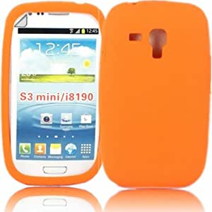 Silicona Cubrir Caso Piel Y Pantalla LCD De Guardia Para Samsung Galaxy S III Mini i8190 / Orange