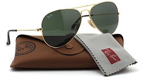 Ray-Ban RB3025 181 Unisex Aviator Sunglasses (Gold Frame / Dark Green Lens 181, - Ray Aviator Medium Ban