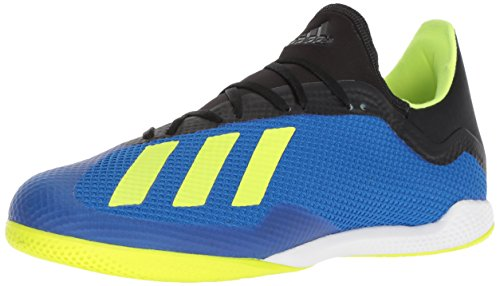 adidas Men's X Tango 18.3 Indoor Soccer Shoe, Football Blue/Solar Yellow/Black, 10 M US