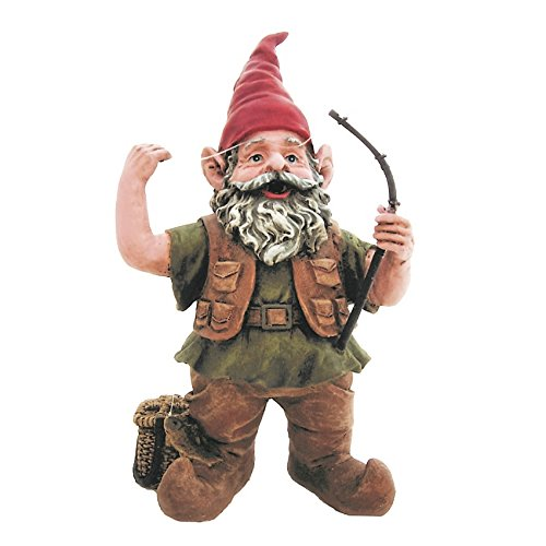 Nowaday Gnomes Fisherman Gnome Holding Fishing Pole Home & Garden Gnome Statue 8.5″ H For Sale
