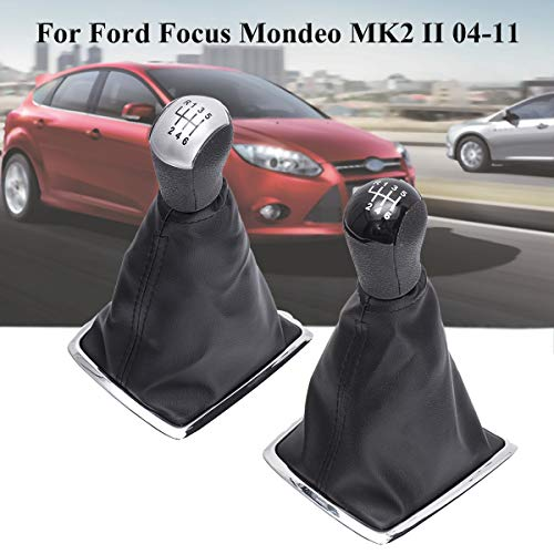 Black KKmoon Gear Stick Shift Knob Head Lever Adapter Manual 5-Speed Transmission for Ford Focus Mondeo 05-12 C-MAX 03-08 S-MAX