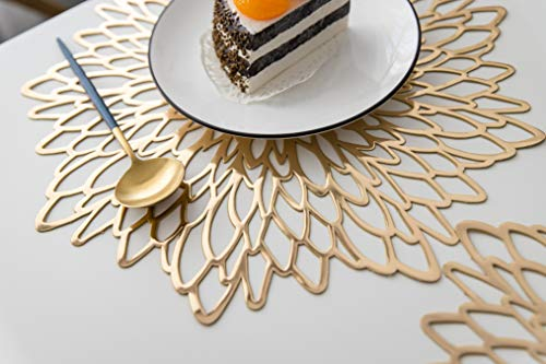 LIFONDER Decorative Dining Table Placemats - Washable Pressed Vinyl Metallic Table Mats/Charger/Wedding Party Accent Centerpiece (10 pcs, Round Gold Leaf) ()