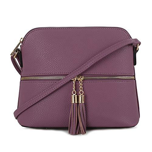 SG SUGU Lightweight Medium Dome Crossbody Bag with Tassel | Zipper Pocket | Adjustable Strap (Purple) ()