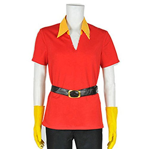 Cuterole Adult Gaston Costume Red Cosplay Shirt with Gloves & Belt Custom in You Size - Gaston Costume Fancy Dress
