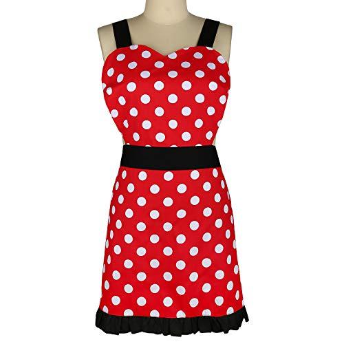 LIVILAN White Dot Apron for Women Girls Ruffle Retro Apron Black Shoulder Straps for Home Kitchen Cooking (Apron Dot)