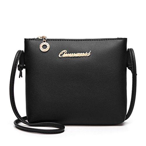 SALLYDREAM Bolso de Crossbody del color Sólido de la Moda de las Mujeres Messenger Bag Phone Bolsa de Monedas Negro