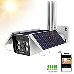 SOLIOM S90 solar security camera with three big solar panels for outdoor or indoor use, wide angle, day and night vision with accurate quick movement tracking control. Surveillance system for home and business, waterproof and mobile app conne...