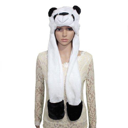 Top Seller Newset Fashion Grey Wolf Cartoon Animal Long Hat Earmuff Scarf Gloves Mitten Fluff Caps (panda)