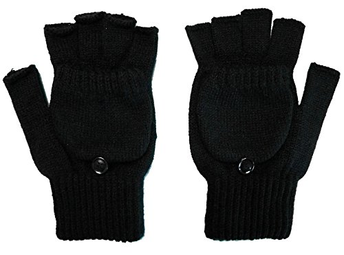 Womens Mens Winter Warm Knitted Convertible Fingerless Gloves W/Mitten Cover