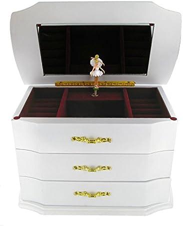 Caja de música para joyas y anillos / joyero musical de madera con bailarina - La vie en rose - La vida en rosa (Louiguy / Piaf)