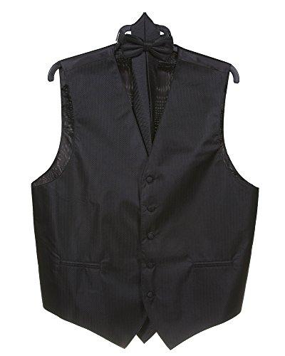 Men's Herringbone Stripe 4pc Vest Set (Vest, Bow Tie, Necktie, Hanky Set) M BLACK by Milani