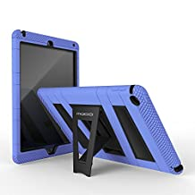 iPad Air 2 Case - MoKo [Kickstand] Durable Hybrid Silicone + Hard Polycarbonate Kid Proof Extreme Duty [Shock-Absorption] with Foldable Stand Protective Cover for iPad 6 9.7 Inch Tablet, BLUE