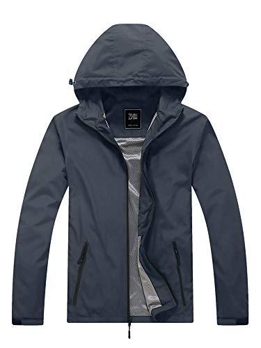 ZSHOW Men's Super Lightweight Windcheater Quick Dry Camping Rain Jacket Sun Protect Coat with Hood(Grey