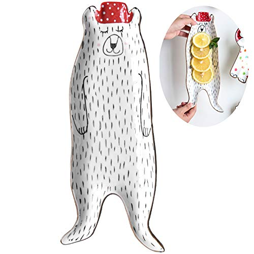 Appetizer Plates Cookies Jewelry Trays Dessert Platter Small Serving Plates Cereal Sauce Bowl Great for Wedding Baby Shower Party Housewarming Gift (Bear Shaped)
