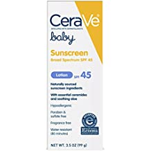 CeraVe Mineral Baby Sunscreen SPF 45 | 3.5 Ounce | Baby Lotion Sunblock to Protect Delicate Skin | Paraben, Sulfate & Fragrance Free