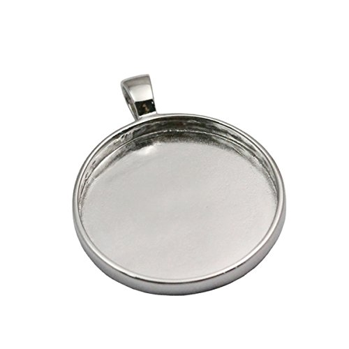 925 sterling silver pendant settings blanks cabochon pendant tray for jewelry making (platina plated)