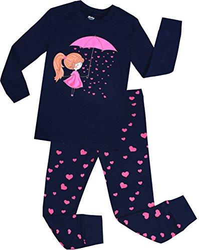 Little Girls Heart Pajamas Set Children Cotton Clothes Kids Christmas PJs Set Size 2 Years