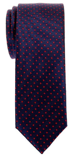 - Retreez Modern Mini Polka Dots Woven Microfiber Skinny Tie - Navy Blue with Red Dots