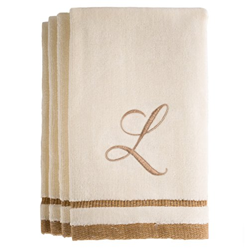 Monogrammed Gifts, Fingertip Towels, 11 x 18 Inches - Set of 4- Decorative Golden Brown Embroidered Towel - Extra Absorbent 100% Cotton- Personalized Gift- For Bathroom/ Kitchen- Initial L - Gift Purchase With Macy's