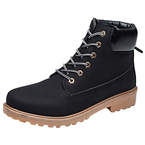 Toe Casual Shoes Solid Color Lace-up Short Boots Shoes(Black,40) ()