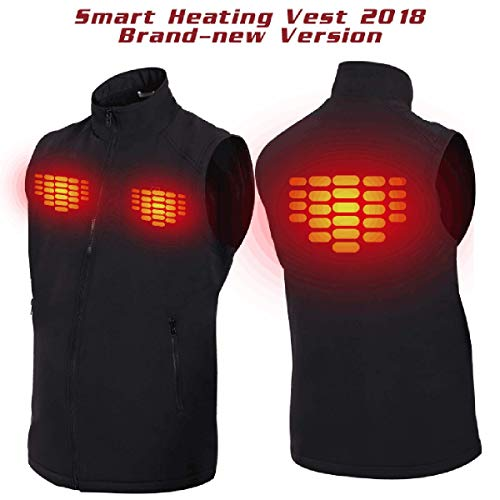 SUNB Rechargeable Heated Vest with 5V Li-ion Battery,Winter Outdoor Sport Warm Insulated Vest, Work up to 3-6 Hours