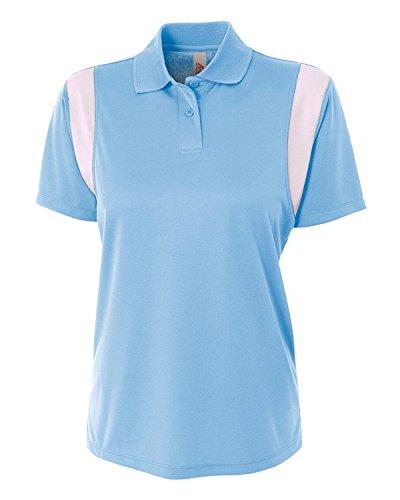 Pour white Color Polo Avec Col En Tricot Femme Blue light xl Block q7vgv6OwE