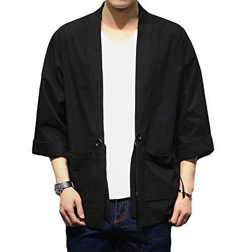 Mens Kimono Cardigan Jacket Yukata Coat Cotton Blends Linen Oversize (Asian size 5XL (chest 52.7''), black 1) by SEVEN O