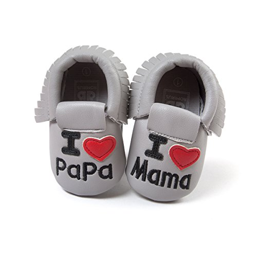 Defitck Baby Boys Girls Soft Soled Crib Shoes Prewalker PU Moccasins Toddler Cute First Walkers Shoes (6-12months, A22gray)