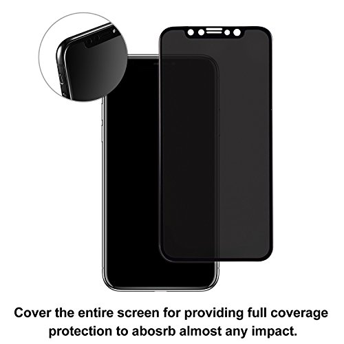 TECHO Privacy Screen Protector for iPhone X, Anti Spy 9H Tempered Glass for Apple iPhone 10, Edge to Edge Full Cover Screen Protector [Full Coverage] [Easy Install] by TECHO (Image #2)