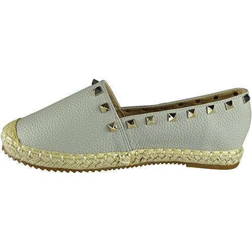 New Womens Slip On Studded Espadrilles Loafers Flats Shoes Size 3-8 Grey 5SiaQhE1lE