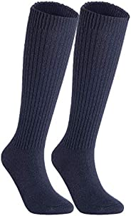 Lian LifeStyle Women's 2 Pairs Knee Length Knitted Wool Socks Striped Size