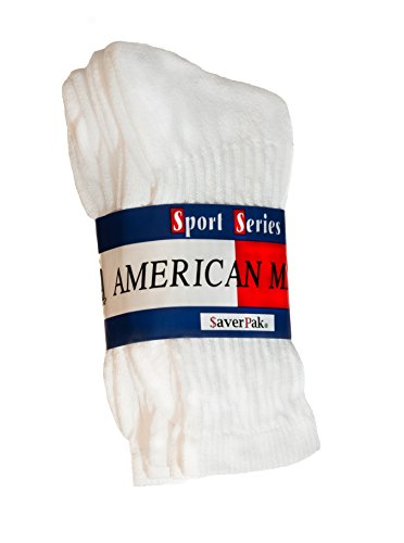 $averPak 3 Pack - American Made Cotton Blend Athletic Crew Socks 3 Pair White (Sock Size 10-13) ()