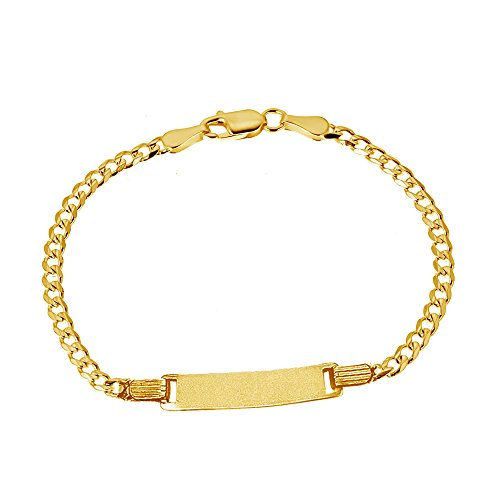 14K Solid Yellow Gold Curb Baby ID Bracelet 6 Inches 3 Mm by Ritastephens