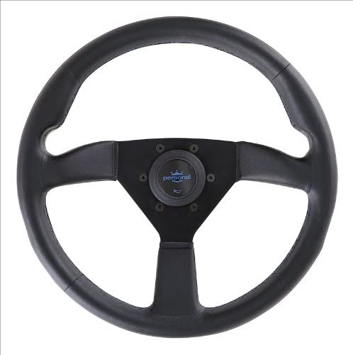 Neo Grinta 350mm 13.78 inches - Black Leather with Black Spokes and Red Logo Part # 6497.35.2090 Personal Steering Wheel