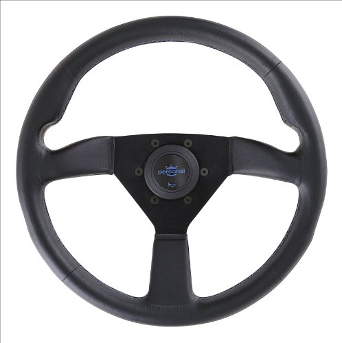 350 Eagle (Personal Steering Wheel - Neo Eagle 350mm (13.78 inches) - Black Leather with Black Spokes and Blue Logo - Part # 6499.34.2090)