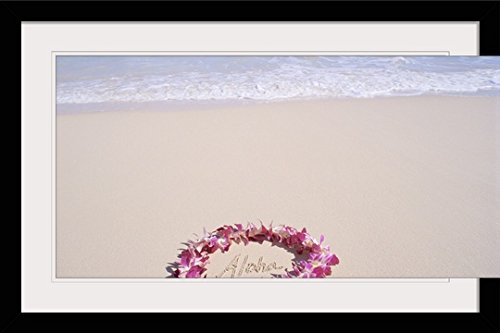GreatBIGCanvas ''Hawaii, Purple Orchid Lei, Aloha Written in The sand'' by Mary Van De Ven Photographic Print with Black Frame, 36'' x 24'' by greatBIGcanvas