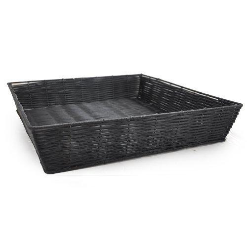 "The Lucky Clover Trading Display Basket, Synthetic Wicker, L x 3.25"" H x 17.25"" W Tray, Black"