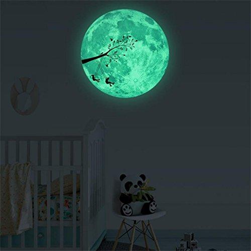 YJYDADA Wall Stickers, 3D Large Moon Fluorescent Wall Sticker Removable Glow In The Dark Sticker,Diameter 30CM (A) (Border Cloud Wallpaper)