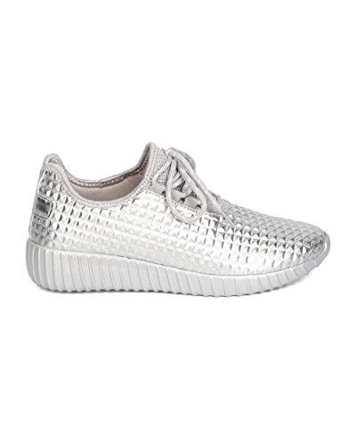 Cape Robbin GB66 Women Metallic Leatherette Quilted Lace Up Jogging Sneaker Silver Eh9wqo