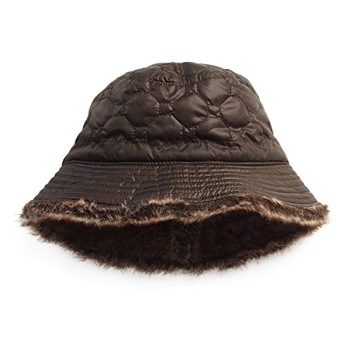 Quilted Hat Fur (Fashion Hat House Womens/Ladies Rawdon Quilted Rain Hat (One Size) (Brown))