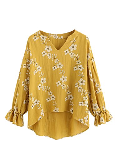Boho Peasant Top Blouse - Milumia Women's Vintage Print Bell Sleeve Long Tops Loose Blouse (Medium, Yellow)
